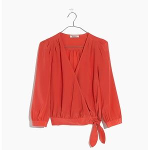 [NWT] Madewell Silk Wrap Top in New Copper
